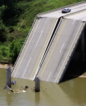 Debris in river at interstate bridge collapse in Oklahoma